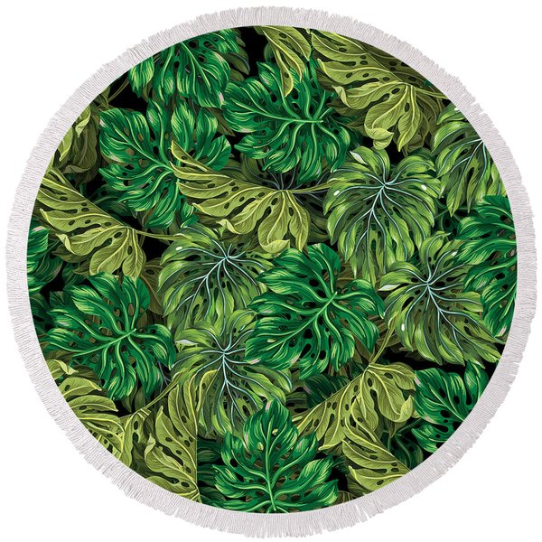 Tropical Haven 2 Round Beach Towel