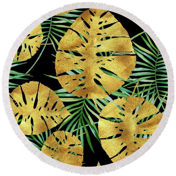Tropical Haze Noir II Gold Monstera Leaves, Green Palm Fronds Round Beach Towel