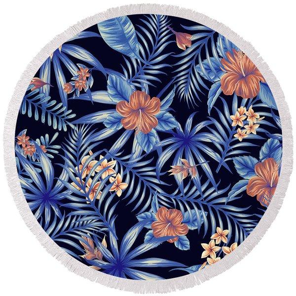 Tropical Leaf Pattern 4 Round Beach Towel