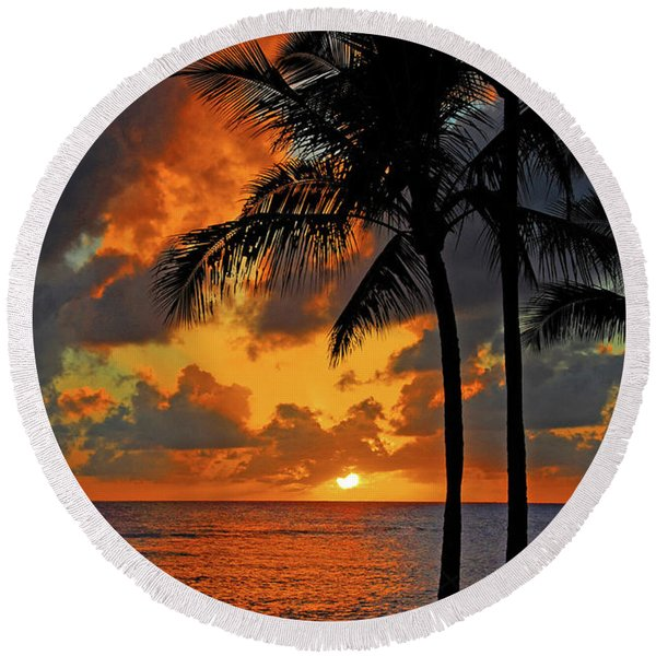 Tropical Nights  Round Beach Towel