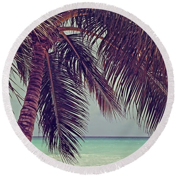 Tropical Ocean View Round Beach Towel