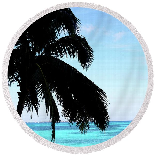 Tropical Sea View From Patio Round Beach Towel