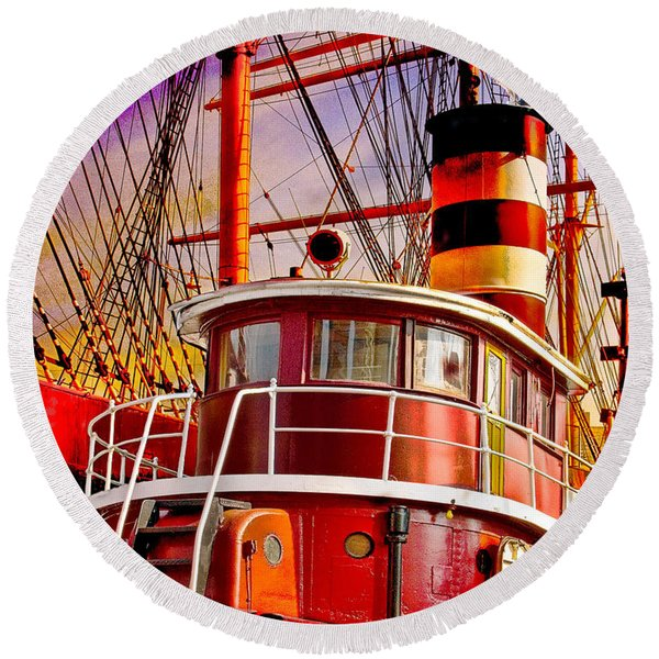 Round Beach Towel featuring the photograph Tugboat Helen Mcallister by Chris Lord