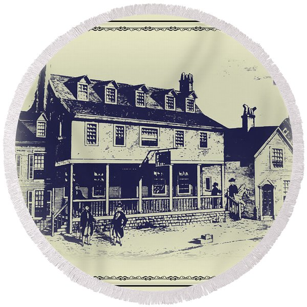 Round Beach Towel featuring the digital art Tun Tavern - Birthplace Of The Marine Corps by Bill Cannon