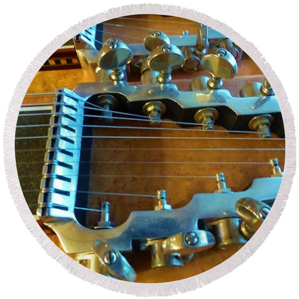 Tuning Pegs On Sho-bud Pedal Steel Guitar Round Beach Towel
