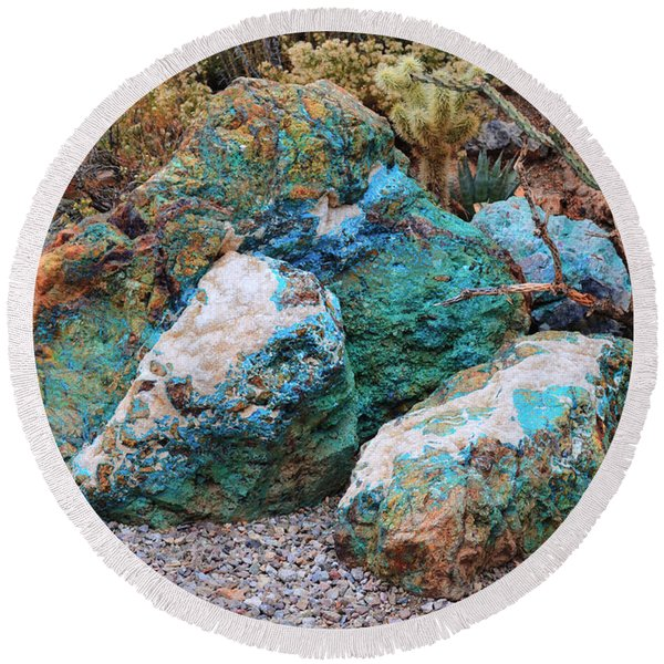 Turquoise Rocks Round Beach Towel