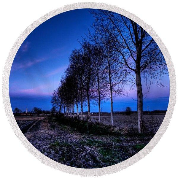 Twilight And Trees Round Beach Towel