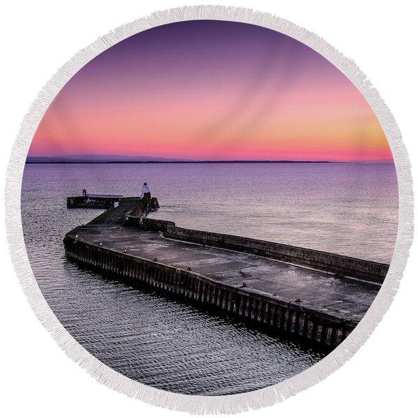 Twilight, Burghead Harbour Round Beach Towel