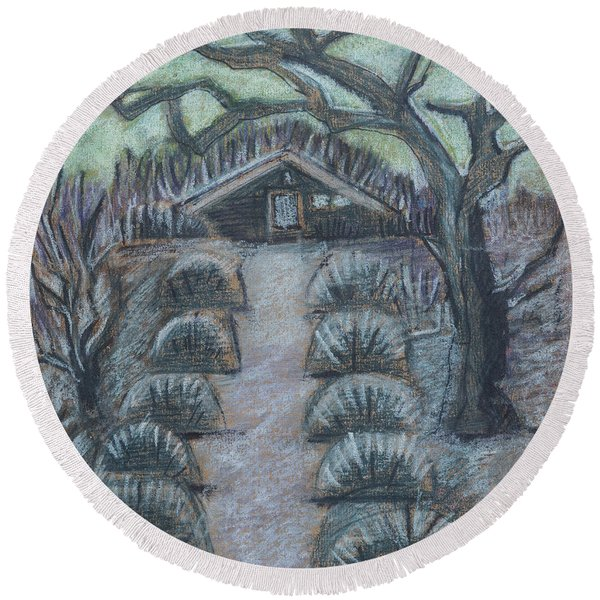Round Beach Towel featuring the drawing Twilight In Garden, Illustration by Ariadna De Raadt