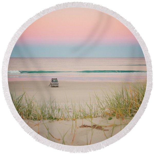 Twilight On The Beach Round Beach Towel