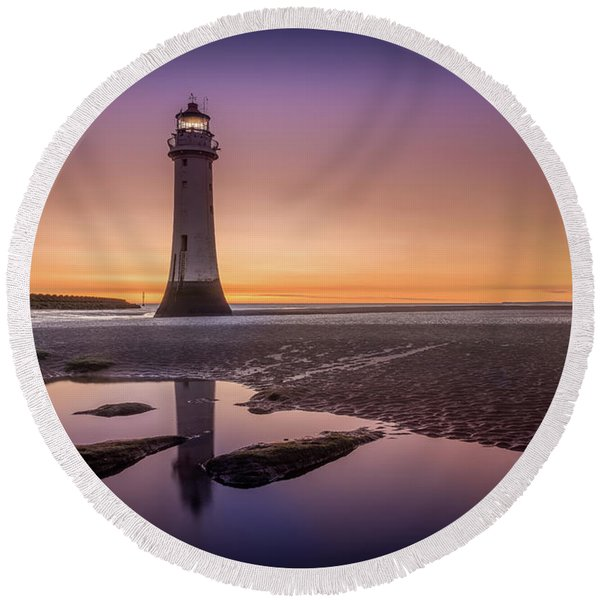 Twilight Reflection, New Brighton Lighthouse Round Beach Towel