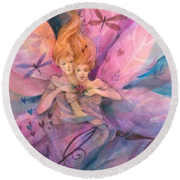 Round Beach Towel featuring the painting Twin Fairies by Carolyn Utigard Thomas