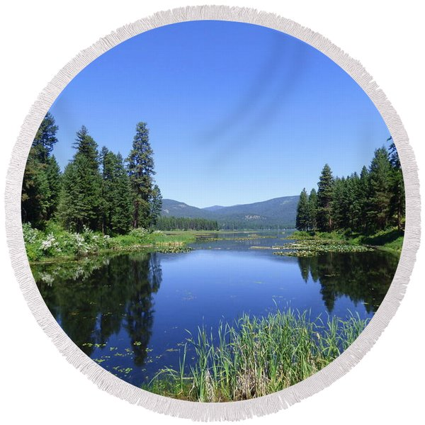 Twin Lakes Reflection Round Beach Towel