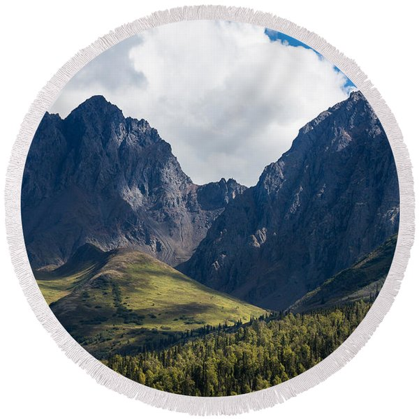 Round Beach Towel featuring the photograph Twin Peaks In Mid-summer by Tim Newton