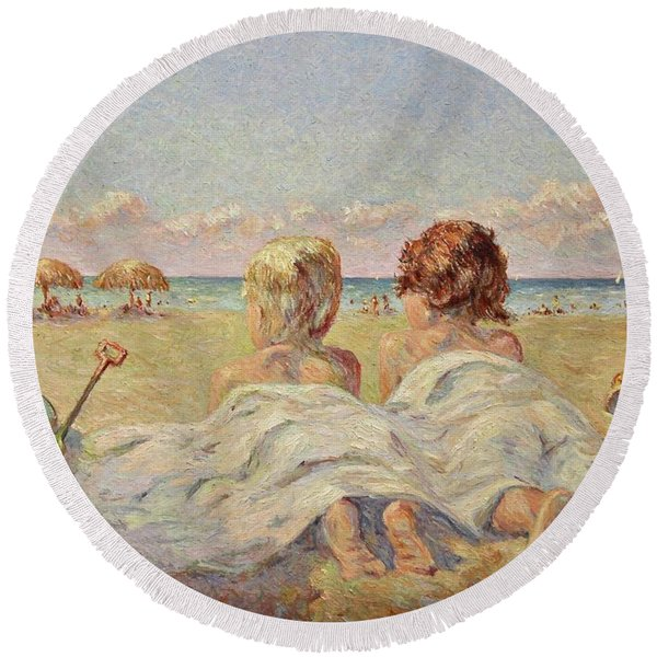 Two Children On The Beach Round Beach Towel