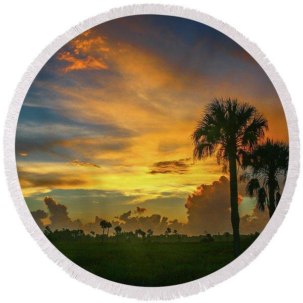 Two Palm Silhouette Sunrise Round Beach Towel