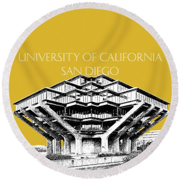 Uc San Diego Gold Round Beach Towel