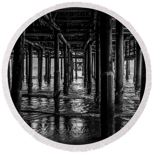 Under The Pier - Black And White Round Beach Towel