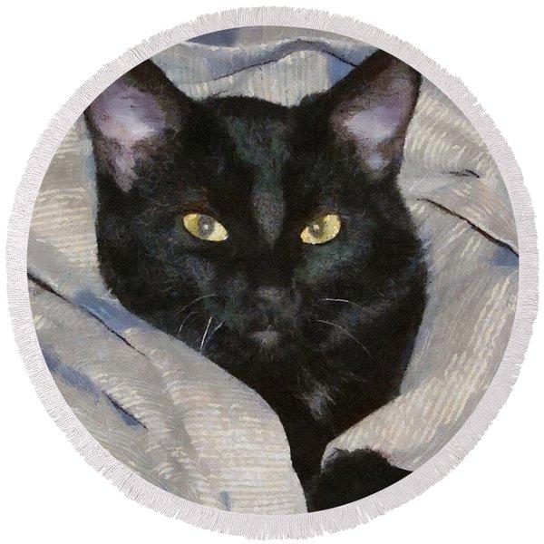Undercover Kitten Round Beach Towel