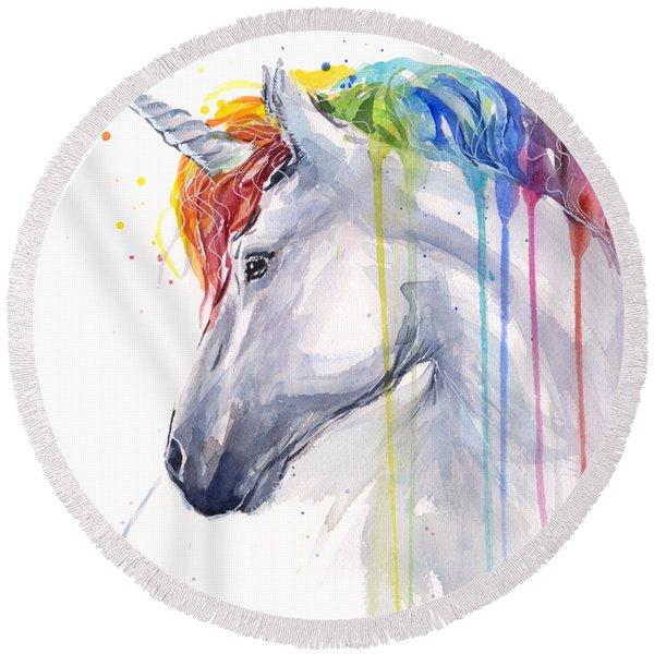 Unicorn Rainbow Watercolor Round Beach Towel