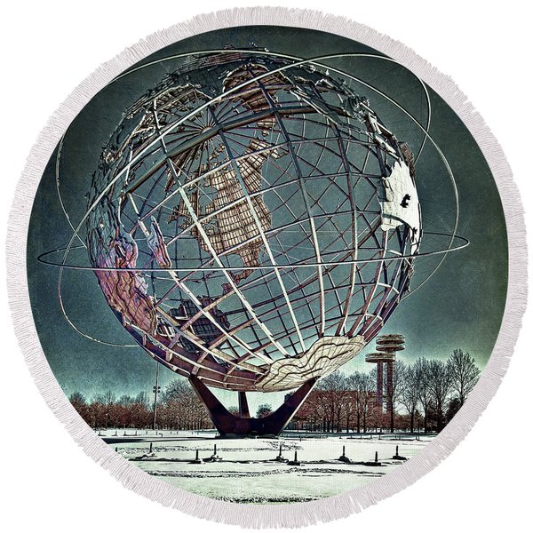 Round Beach Towel featuring the photograph Unisphere by Chris Lord