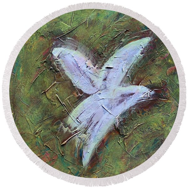 Upon Angels Wings Round Beach Towel