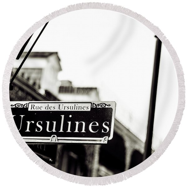 Ursulines In Monotone, New Orleans, Louisiana Round Beach Towel