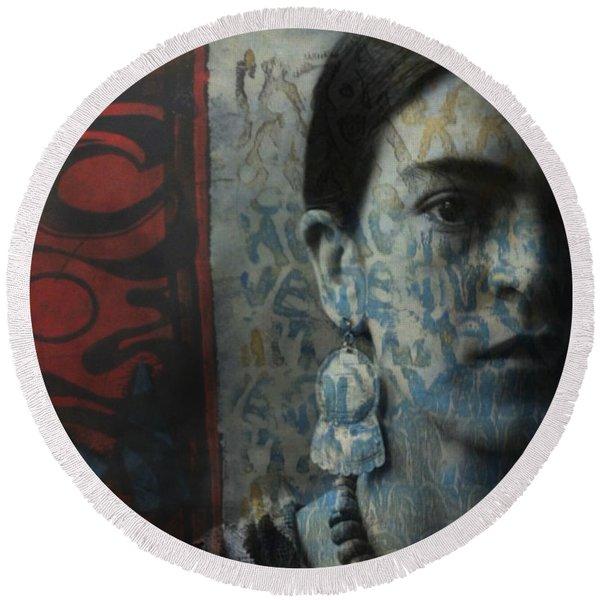 Us And Them - Frida Kahlo Round Beach Towel
