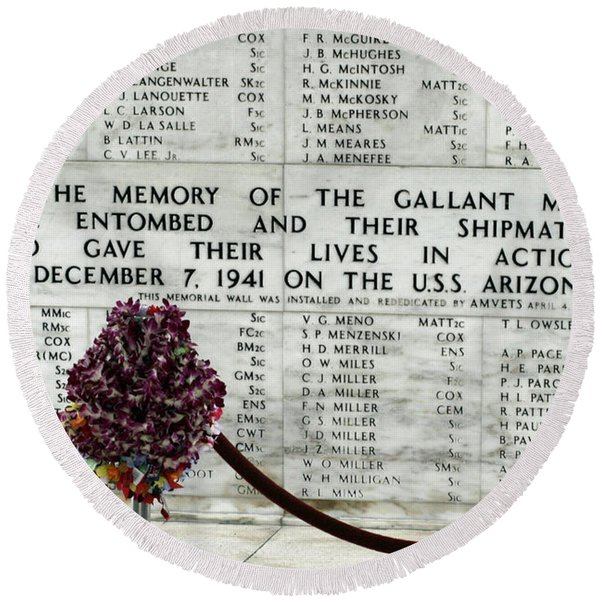 U.s.s. Arizona Memorial Round Beach Towel