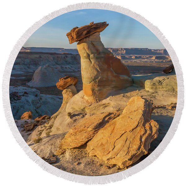 Round Beach Towel featuring the photograph Utah Hoodoos At Sunset by Lon Dittrick
