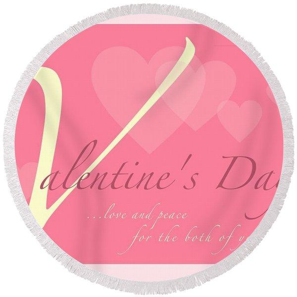 Valentine's Day Round Beach Towel
