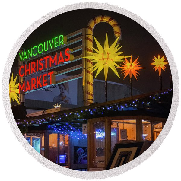 Vancouver Christmas Market  Round Beach Towel