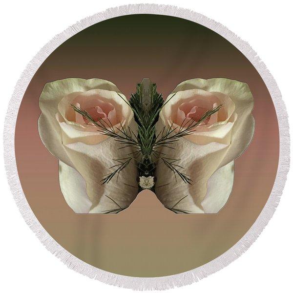 Vanilla Butterfly Rose Round Beach Towel