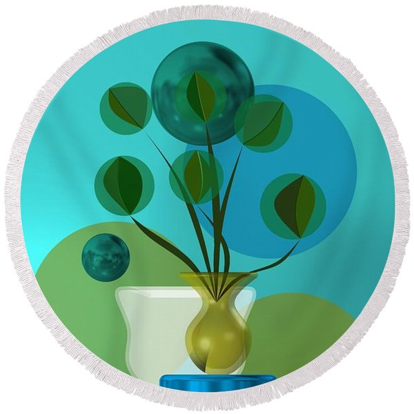 Vase With Bouquet Over Blue Round Beach Towel