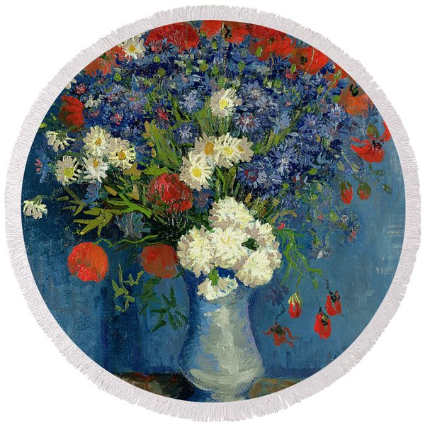 Vase With Cornflowers And Poppies Round Beach Towel