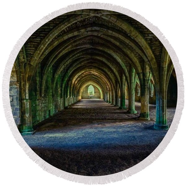 Vaulted, Fountains Abbey, Yorkshire, United Kingdom Round Beach Towel