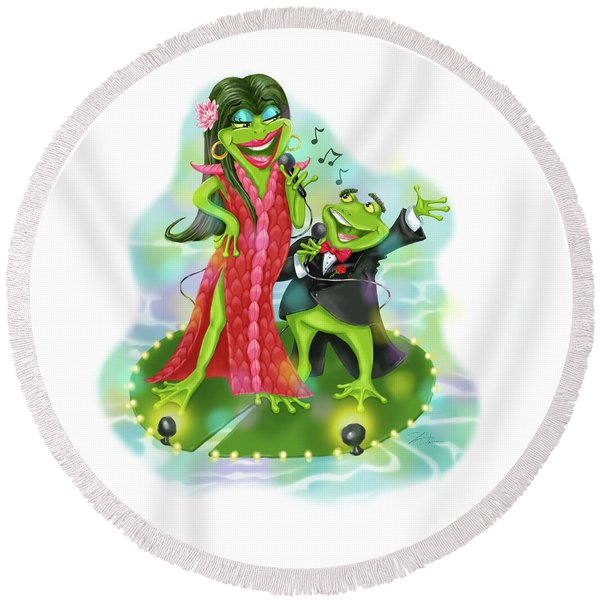 Vegas Frogs Lounge Act Round Beach Towel
