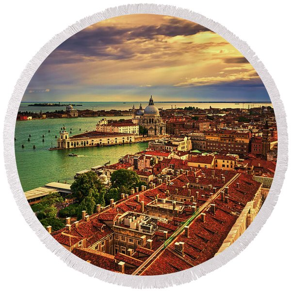 From The Bell Tower In Venice, Italy Round Beach Towel