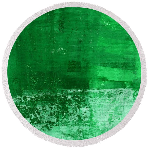 Verde-  Contemporary Abstract Art Round Beach Towel