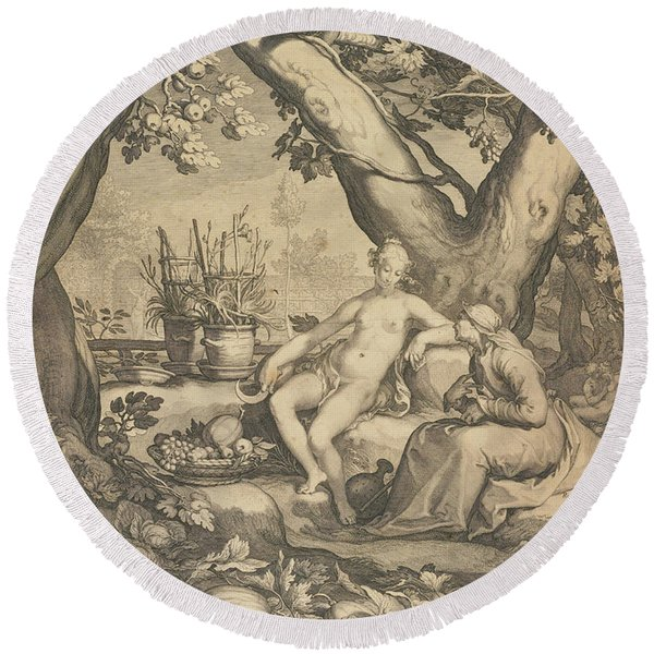 Vertumnus And Pomona, 1605  Round Beach Towel