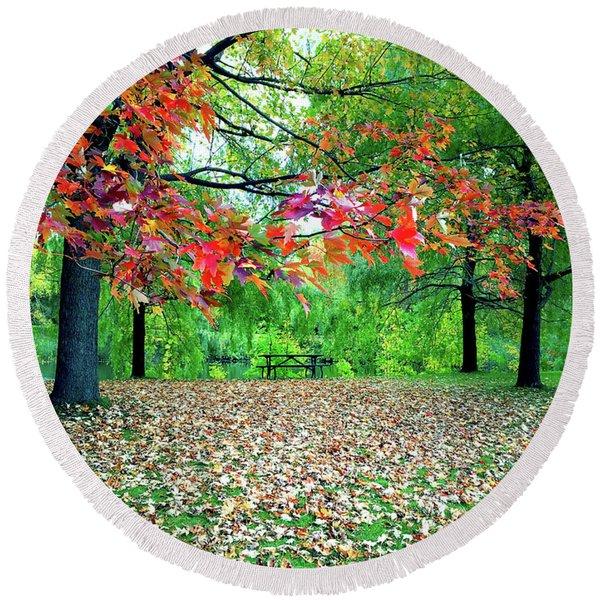 Vibrant Autumn Landscape Round Beach Towel