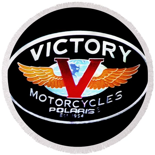 Round Beach Towel featuring the photograph Victory Motorcycles Emblem by Bill Cannon