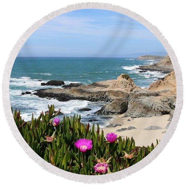 View From Bodega Head In Bodega Bay Ca - 3 Round Beach Towel