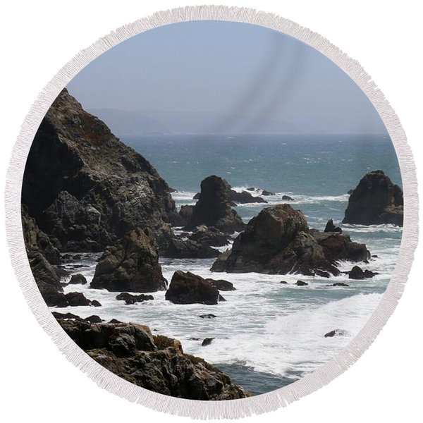 View From Bodega Head In Bodega Bay Ca - 4 Round Beach Towel