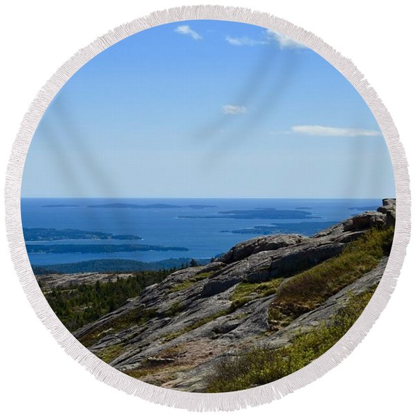 View From Cadillac Mountain Round Beach Towel