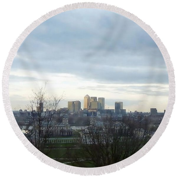 View From Greenwich 5 Round Beach Towel