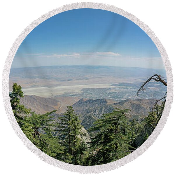 View From Mount San Jacinto Round Beach Towel