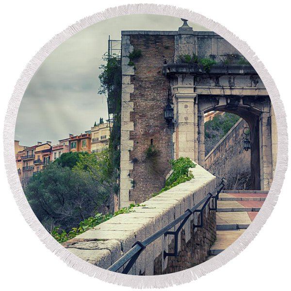 Round Beach Towel featuring the photograph view from St Mary's Tower,  Monaco by Ariadna De Raadt