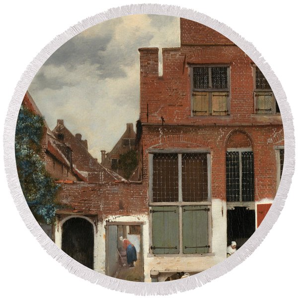 View Of Houses In Delft Round Beach Towel