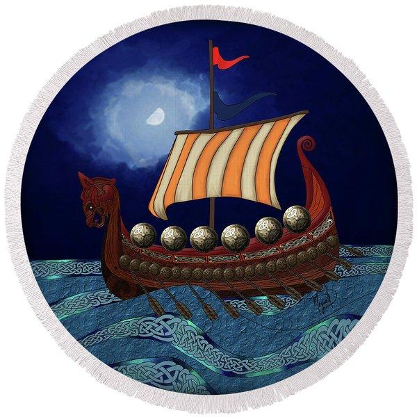 Round Beach Towel featuring the digital art Viking Ship by Megan Dirsa-DuBois